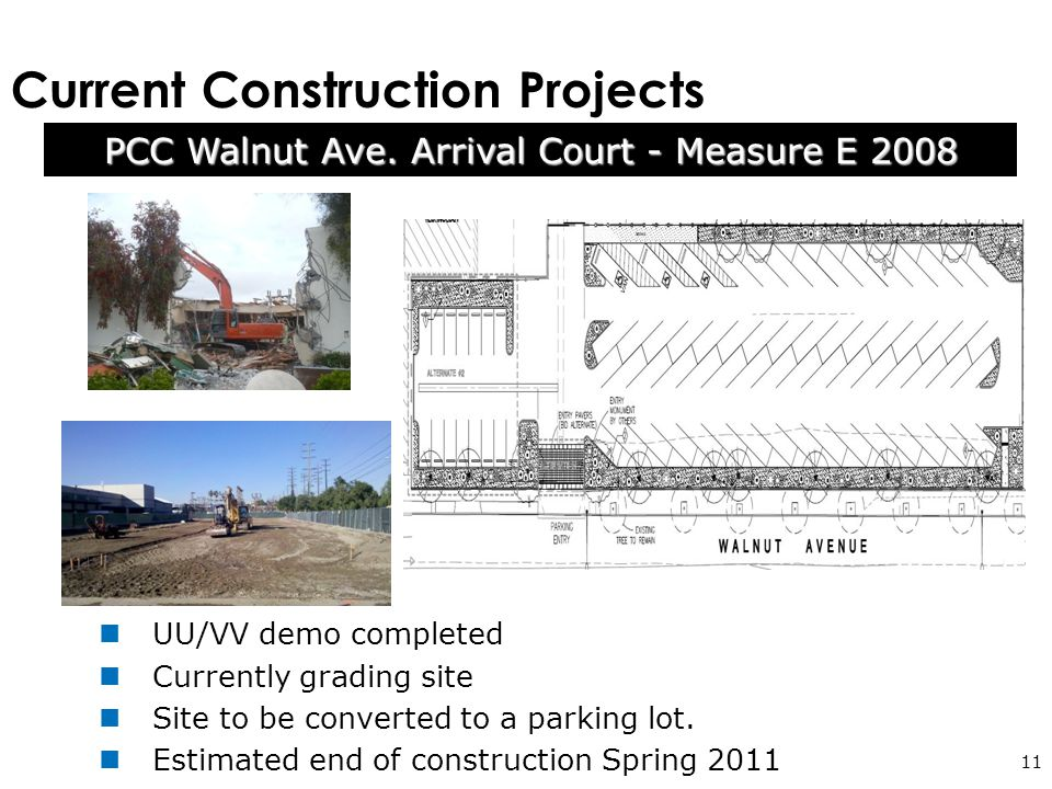 Current Construction Projects 11 UU/VV demo completed Currently grading site Site to be converted to a parking lot.