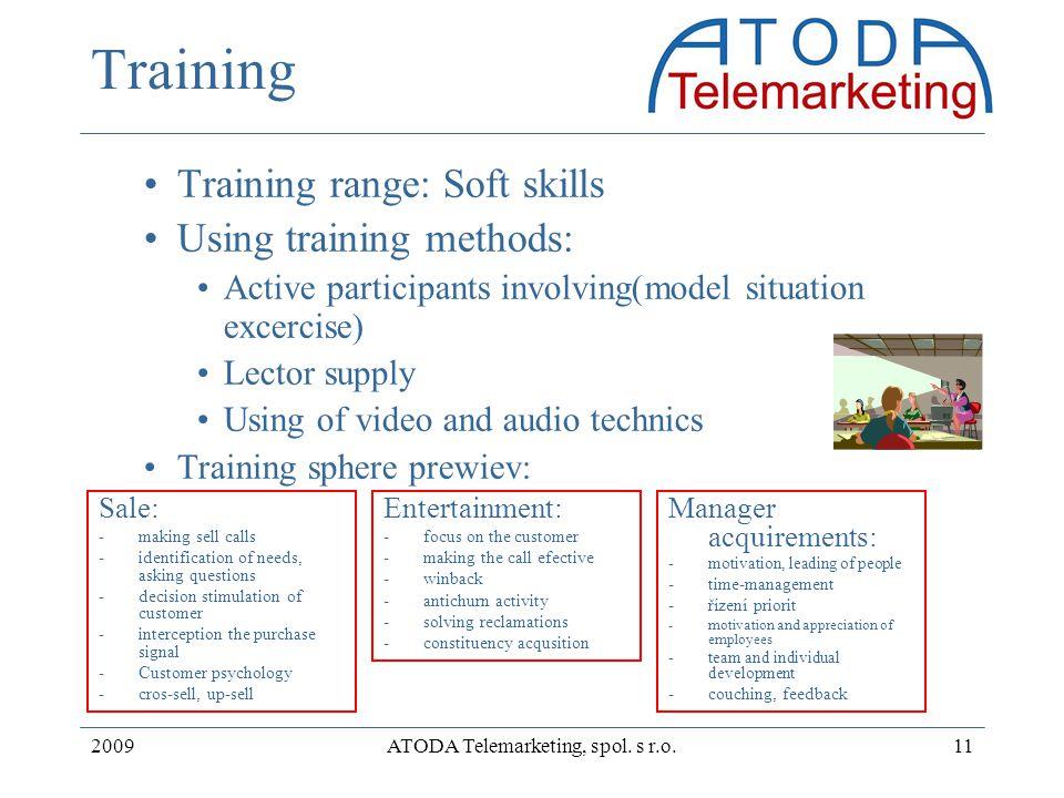 2009ATODA Telemarketing, spol. s r.o.11 Training Training range: Soft skills Using training methods: Active participants involving(model situation exc