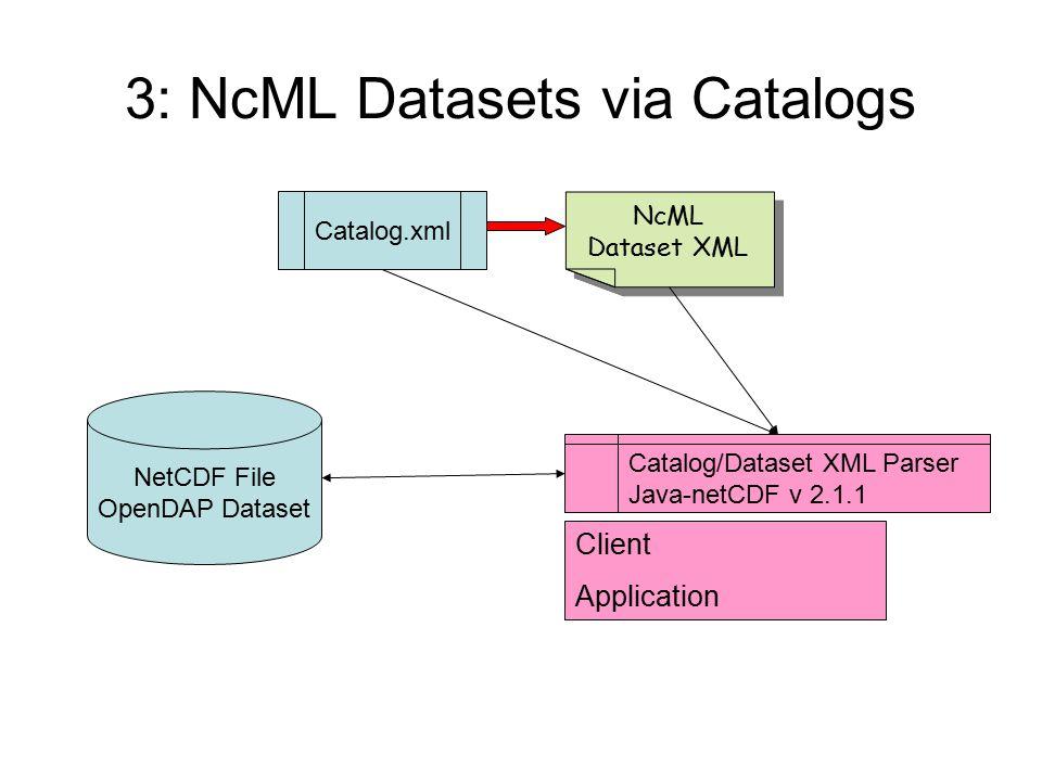 3: NcML Datasets via Catalogs Client Application Catalog.xml NcML Dataset XML Catalog/Dataset XML Parser Java-netCDF v 2.1.1 NetCDF File OpenDAP Dataset