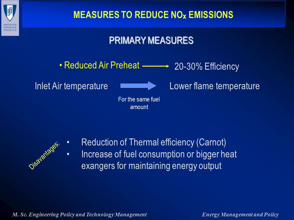 MEASURES TO REDUCE NO x EMISSIONS M. Sc.