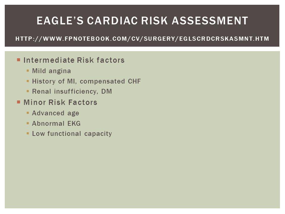 Intermediate Risk factors  Mild angina  History of MI, compensated CHF  Renal insufficiency, DM  Minor Risk Factors  Advanced age  Abnormal EKG  Low functional capacity EAGLE'S CARDIAC RISK ASSESSMENT HTTP://WWW.FPNOTEBOOK.COM/CV/SURGERY/EGLSCRDCRSKASMNT.HTM