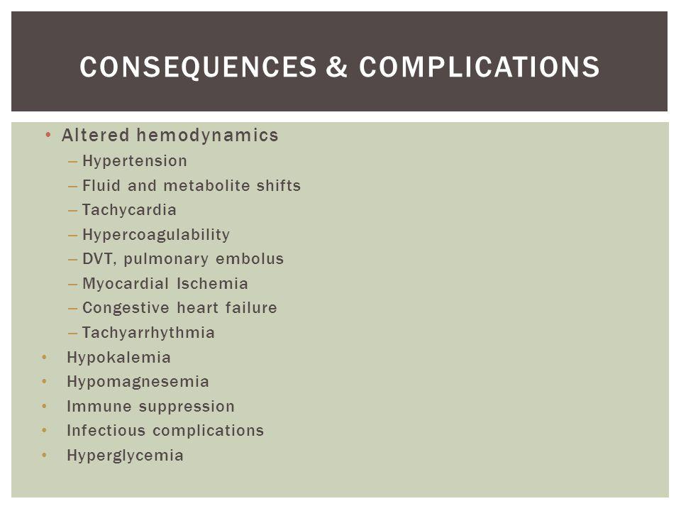 Altered hemodynamics – Hypertension – Fluid and metabolite shifts – Tachycardia – Hypercoagulability – DVT, pulmonary embolus – Myocardial Ischemia – Congestive heart failure – Tachyarrhythmia Hypokalemia Hypomagnesemia Immune suppression Infectious complications Hyperglycemia CONSEQUENCES & COMPLICATIONS