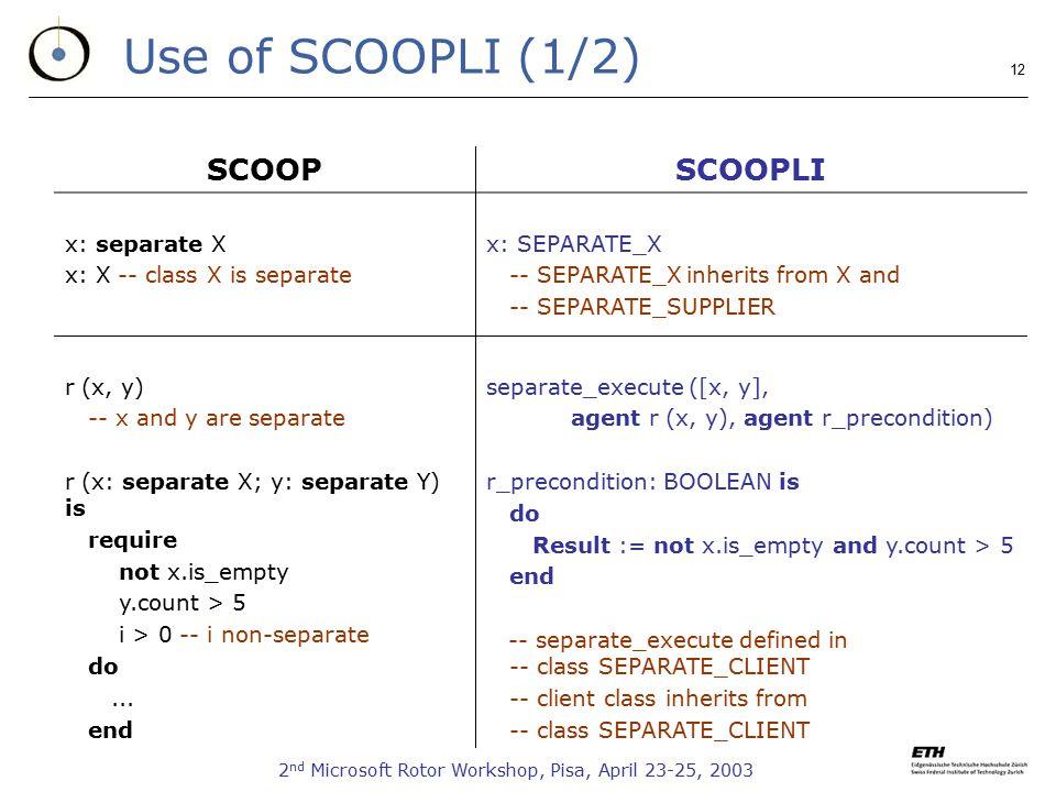 2 nd Microsoft Rotor Workshop, Pisa, April 23-25, 2003 12 Use of SCOOPLI (1/2) SCOOPSCOOPLI x: separate X x: X -- class X is separate x: SEPARATE_X --
