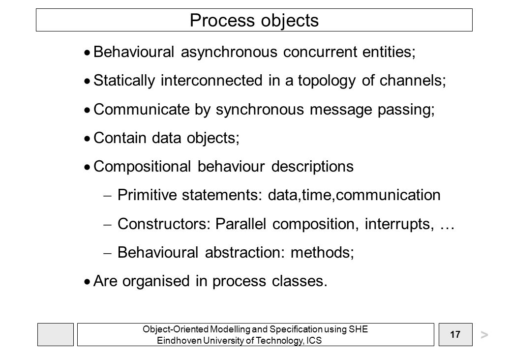 Object-Oriented Modelling and Specification using SHE Eindhoven University of Technology, ICS 17 Process objects  Behavioural asynchronous concurrent entities;  Statically interconnected in a topology of channels;  Communicate by synchronous message passing;  Contain data objects;  Compositional behaviour descriptions  Primitive statements: data,time,communication  Constructors: Parallel composition, interrupts, …  Behavioural abstraction: methods;  Are organised in process classes.