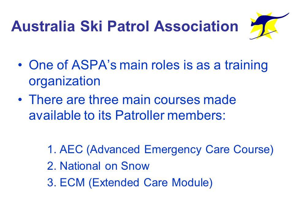 Patrols in Australia There are three States where skiing is possible in Australia All three States have Patrols members of ASPA (Australian Ski Patrol Association) these are: –New South Wales –Victoria –Tasmania