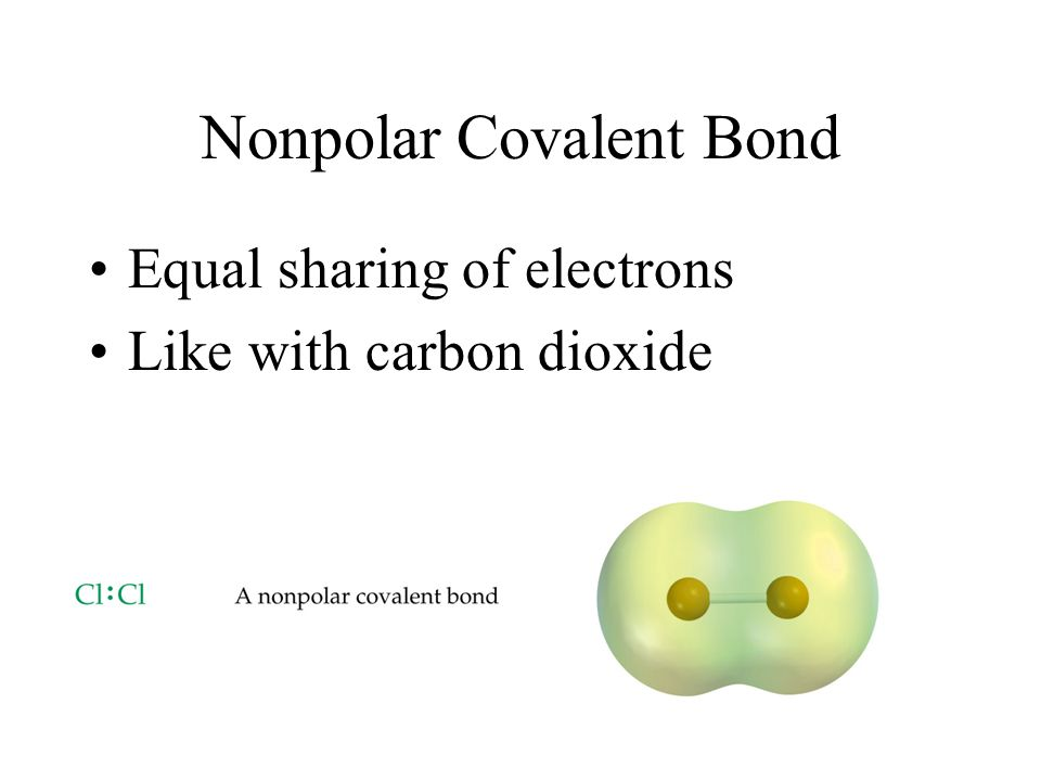 Nonpolar Covalent Bond Equal sharing of electrons Like with carbon dioxide