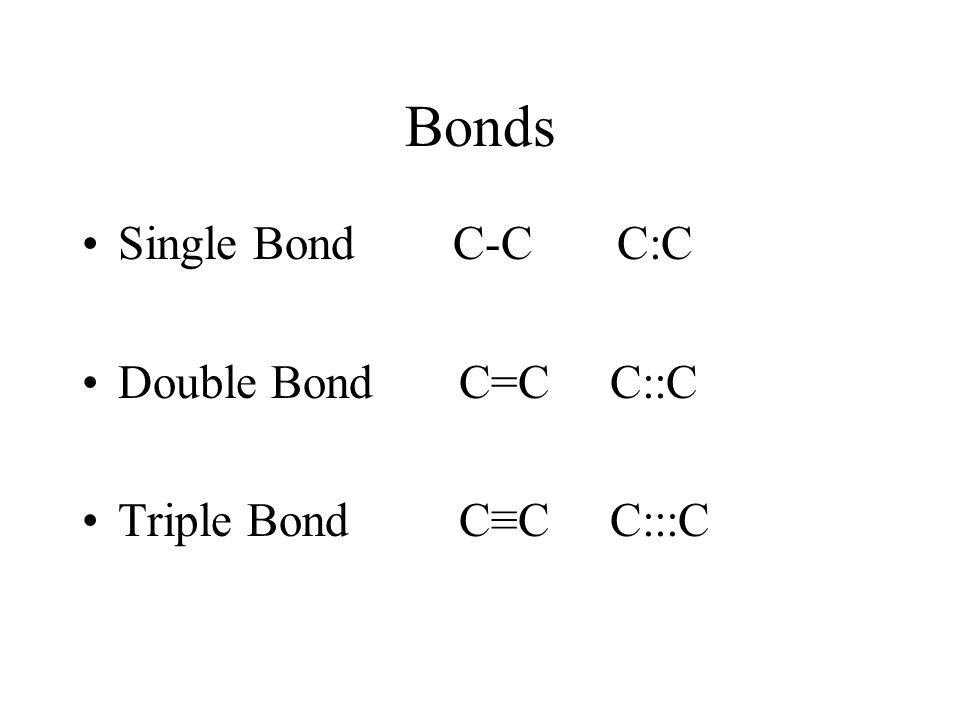 Bonds Single Bond C-C C:C Double Bond C=C C::C Triple Bond C≡C C:::C