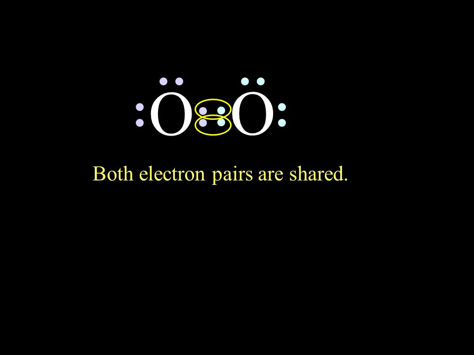 O O Both electron pairs are shared.