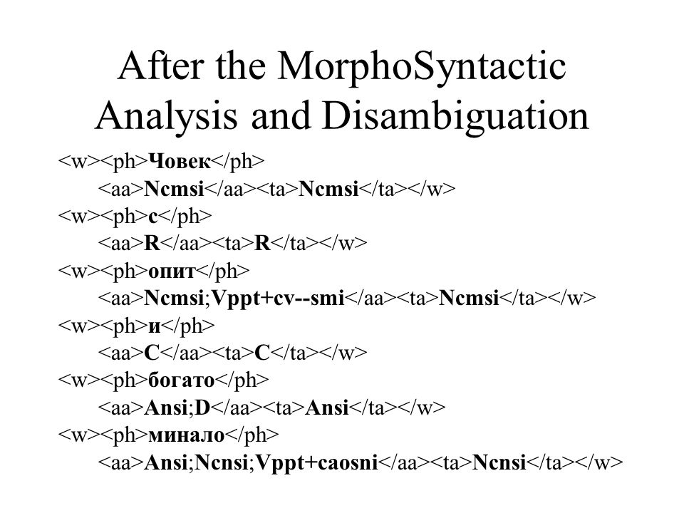 After the MorphoSyntactic Analysis and Disambiguation Човек Ncmsi Ncmsi с R R опит Ncmsi;Vppt+cv--smi Ncmsi и C C богато Ansi;D Ansi минало Ansi;Ncnsi;Vppt+caosni Ncnsi