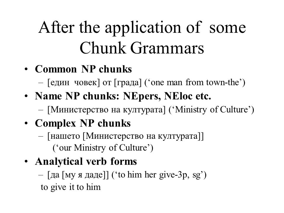 After the application of some Chunk Grammars Common NP chunks –[един човек] от [града] ('one man from town-the') Name NP chunks: NEpers, NEloc etc.