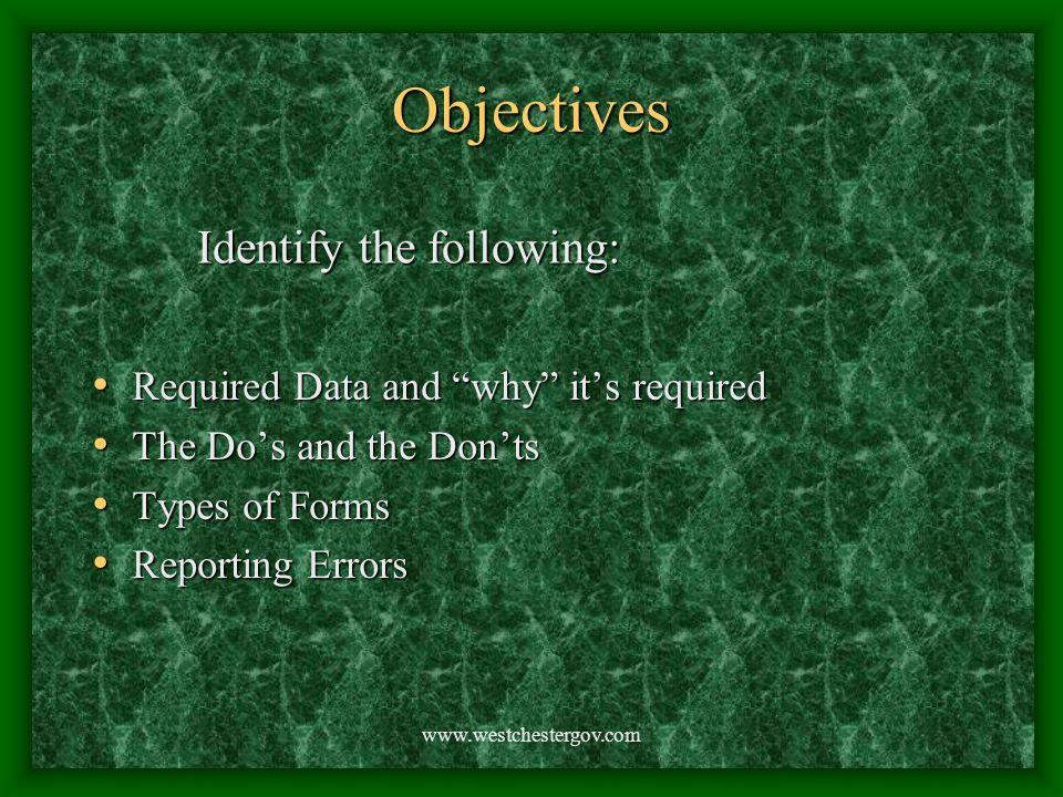 www.westchestergov.com Subjective Don't list irrelevant info.