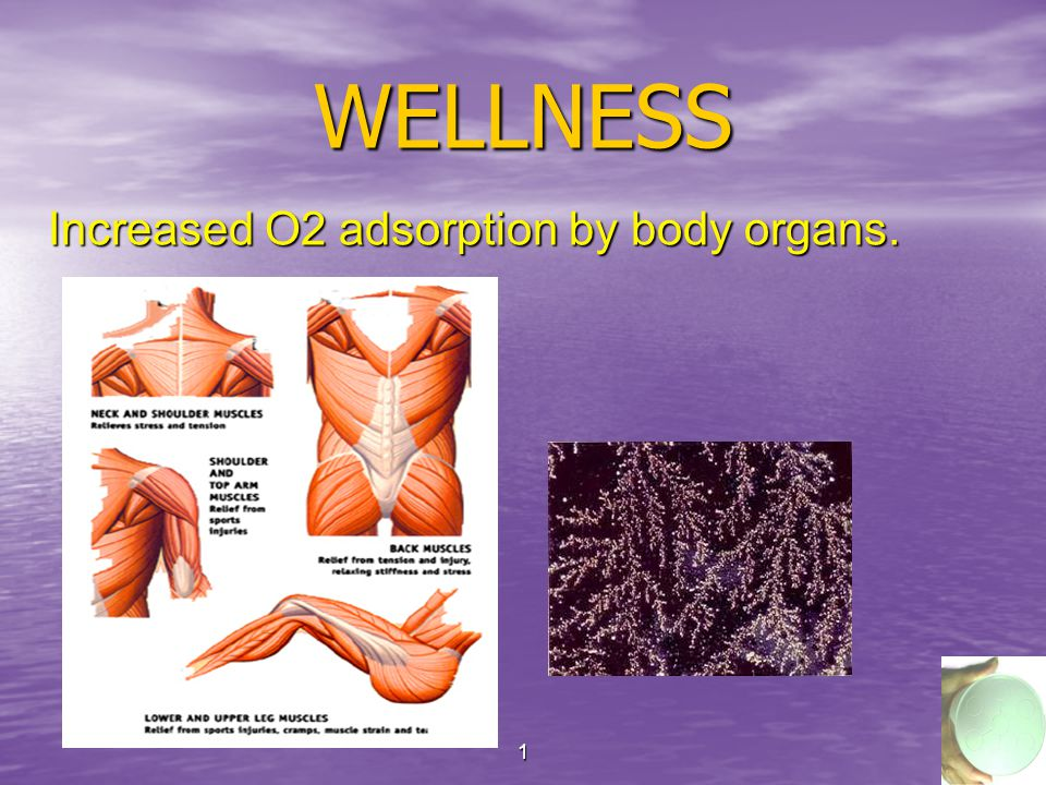 18 WELLNESS Increased O2 adsorption by body organs.