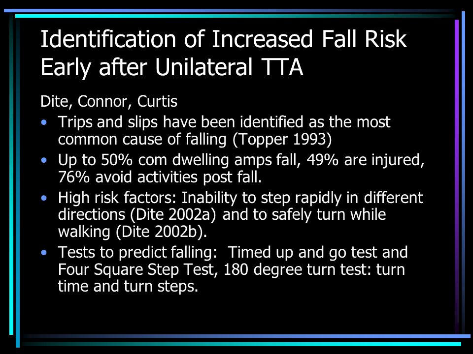 Identification of Increased Fall Risk Early after Unilateral TTA Dite, Connor, Curtis Trips and slips have been identified as the most common cause of falling (Topper 1993) Up to 50% com dwelling amps fall, 49% are injured, 76% avoid activities post fall.