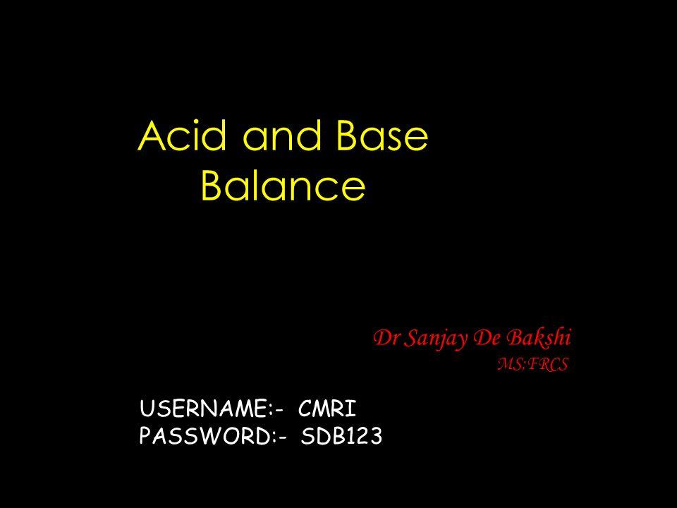 Acid and Base Balance Dr Sanjay De Bakshi MS;FRCS USERNAME:- CMRI PASSWORD:- SDB123