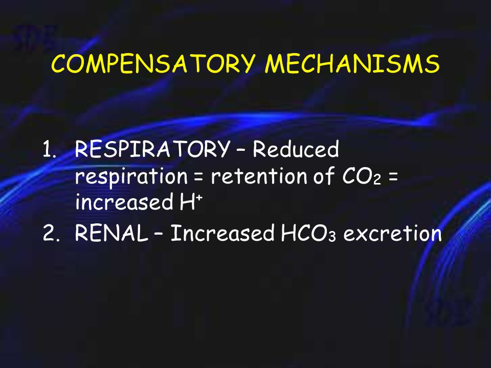 COMPENSATORY MECHANISMS 1.RESPIRATORY – Reduced respiration = retention of CO 2 = increased H + 2.RENAL – Increased HCO 3 excretion