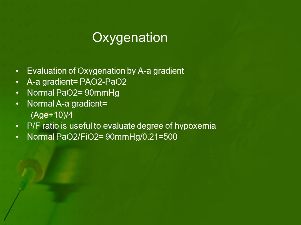 Oxygenation Evaluation of Oxygenation by A-a gradient A-a gradient= PAO2-PaO2 Normal PaO2= 90mmHg Normal A-a gradient= (Age+10)/4 P/F ratio is useful to evaluate degree of hypoxemia Normal PaO2/FiO2= 90mmHg/0.21=500