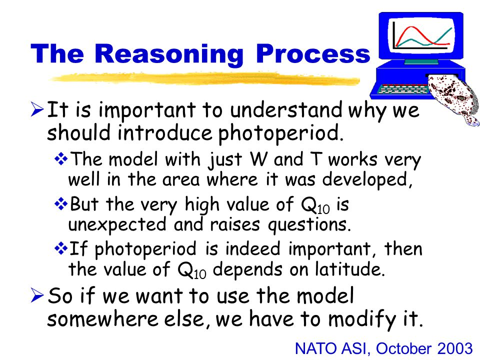 NATO ASI, October 2003 The Reasoning Process  It is important to understand why we should introduce photoperiod.