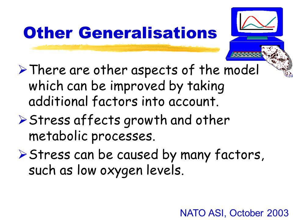 NATO ASI, October 2003 Other Generalisations  There are other aspects of the model which can be improved by taking additional factors into account.