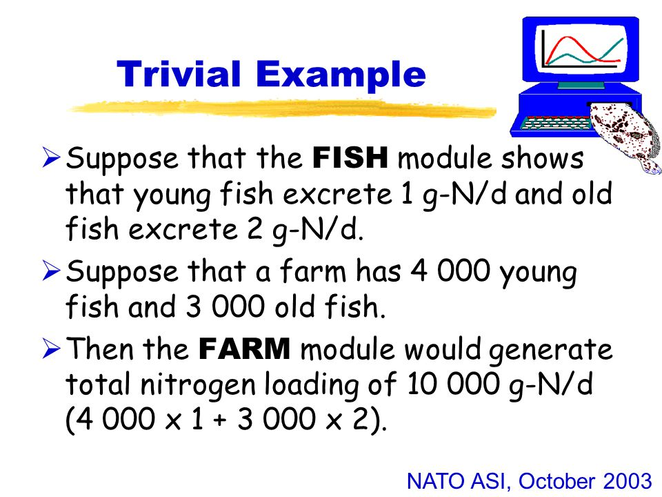 NATO ASI, October 2003 Use of Model Outputs  The FISH and FARM modules generate different types of output which feed into different types of environmental impact:  N, P and other soluble nutrients contribute to eutrophication.
