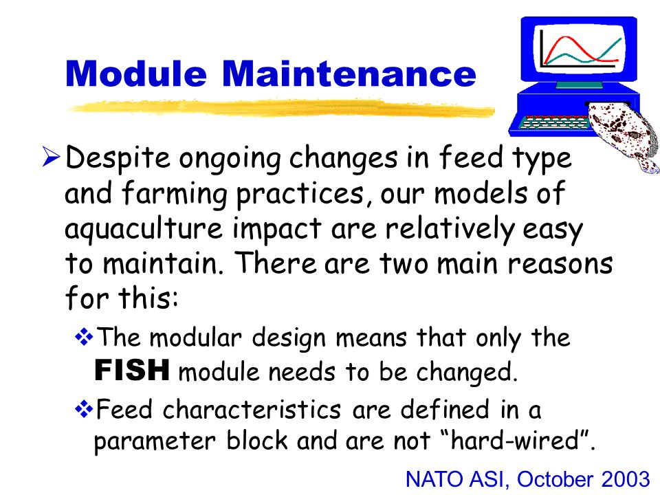 NATO ASI, October 2003 Reinventing FISH  Originally the FISH and other modules were written in FORTRAN-77 and ran within the BSIM software framework.