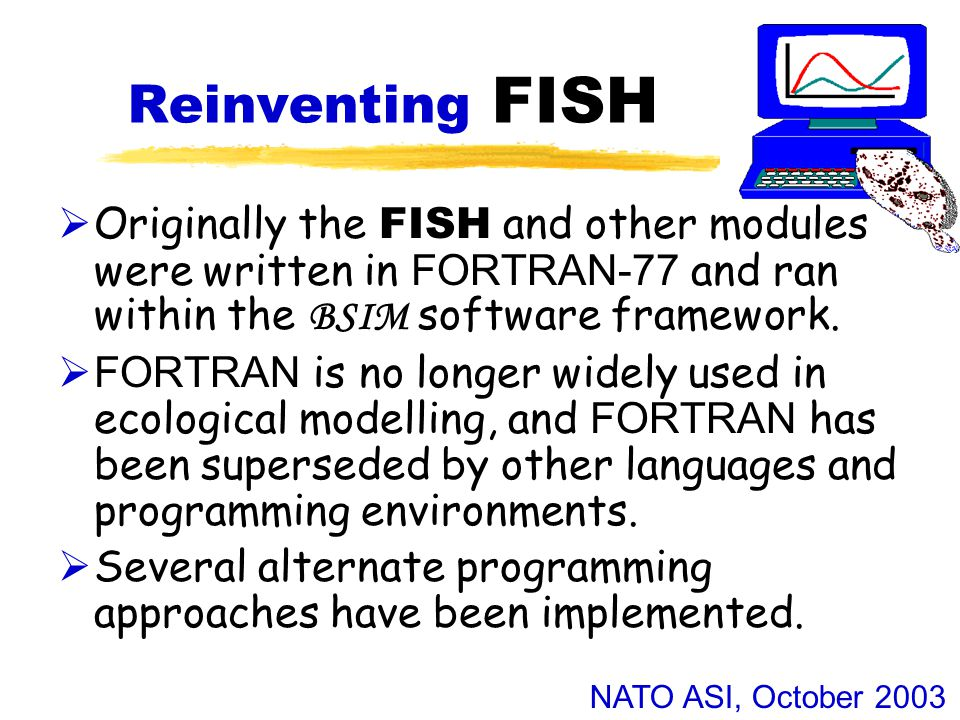 NATO ASI, October 2003 Reinventing FISH  Originally the FISH and other modules were written in FORTRAN-77 and ran within the BSIM software framework.