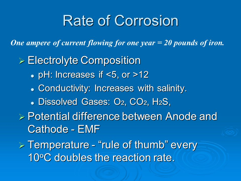Rate of Corrosion  Electrolyte Composition pH: Increases if 12 pH: Increases if 12 Conductivity: Increases with salinity. Conductivity: Increases wit