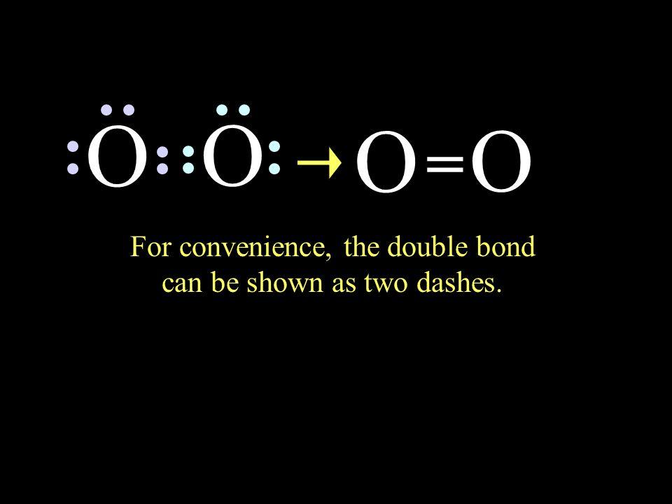 two set of shared electrons, O O making a double bond