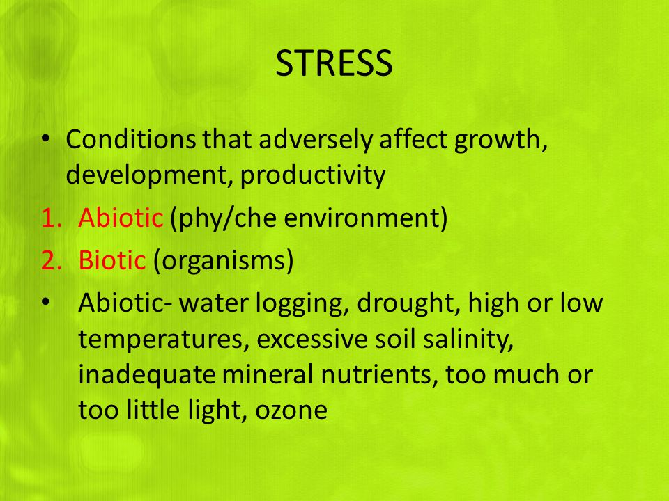 STRESS Conditions that adversely affect growth, development, productivity 1.Abiotic (phy/che environment) 2.Biotic (organisms) Abiotic- water logging, drought, high or low temperatures, excessive soil salinity, inadequate mineral nutrients, too much or too little light, ozone