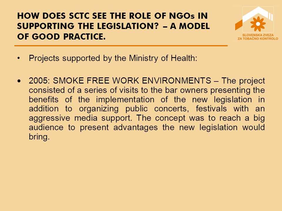 HOW DOES SCTC SEE THE ROLE OF NGOs IN SUPPORTING THE LEGISLATION.