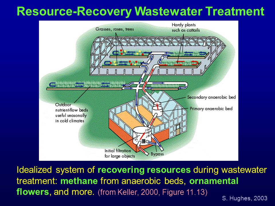 Resource-Recovery Wastewater Treatment Idealized system of recovering resources during wastewater treatment: methane from anaerobic beds, ornamental f