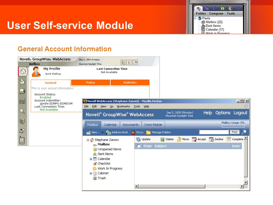 User Self-service Module General Account Information Omni Mobile: General Account Info