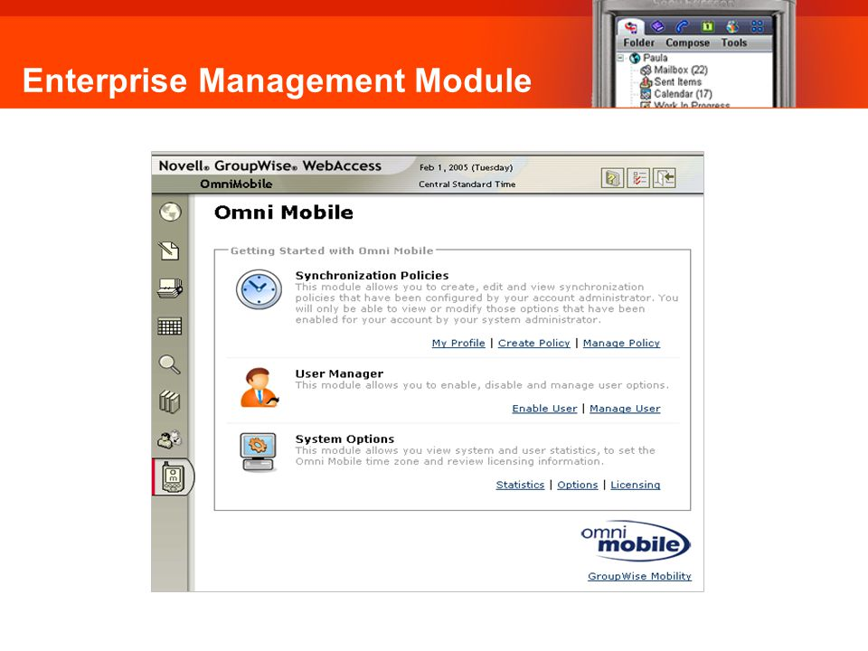 Enterprise Management Module Omni Mobile: Synchronisation Policies