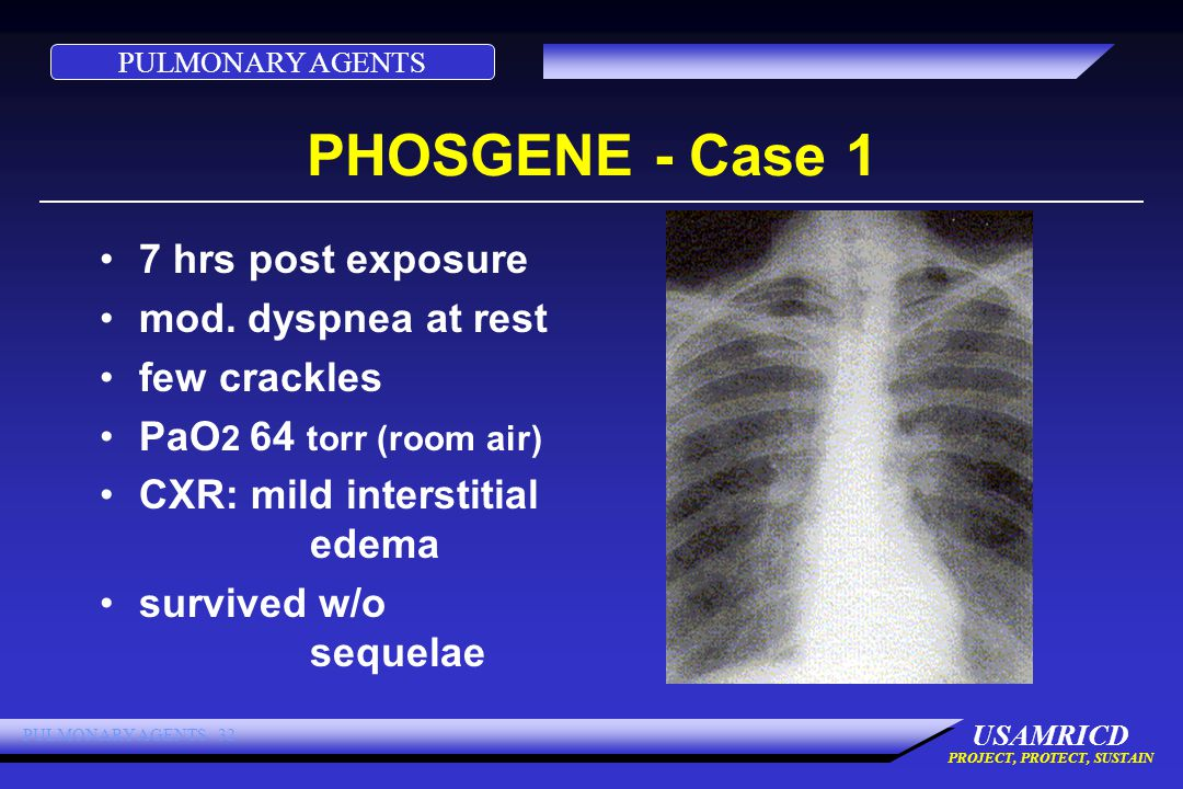 PULMONARY AGENTS USAMRICD PROJECT, PROTECT, SUSTAIN PULMONARY AGENTS 32 PHOSGENE - Case 1 7 hrs post exposure mod.