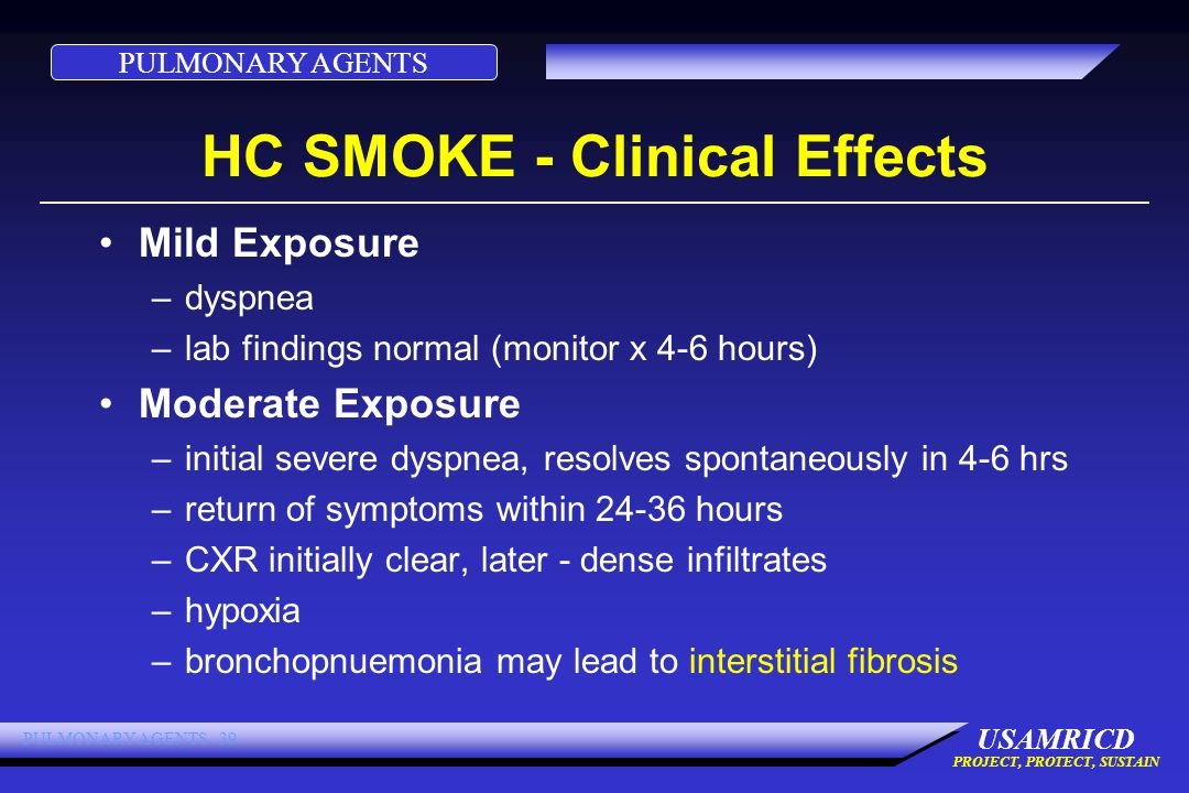 PULMONARY AGENTS USAMRICD PROJECT, PROTECT, SUSTAIN PULMONARY AGENTS 39 HC SMOKE - Clinical Effects Mild Exposure –dyspnea –lab findings normal (monitor x 4-6 hours) Moderate Exposure –initial severe dyspnea, resolves spontaneously in 4-6 hrs –return of symptoms within 24-36 hours –CXR initially clear, later - dense infiltrates –hypoxia –bronchopnuemonia may lead to interstitial fibrosis