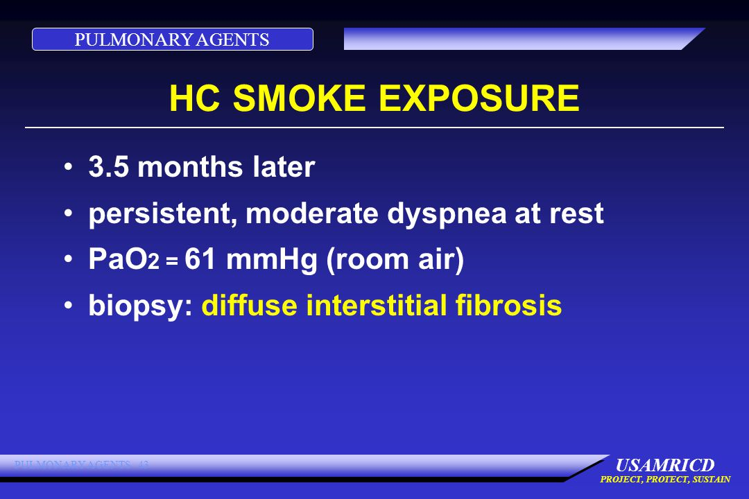 PULMONARY AGENTS USAMRICD PROJECT, PROTECT, SUSTAIN PULMONARY AGENTS 43 HC SMOKE EXPOSURE 3.5 months later persistent, moderate dyspnea at rest PaO 2 = 61 mmHg (room air) biopsy: diffuse interstitial fibrosis