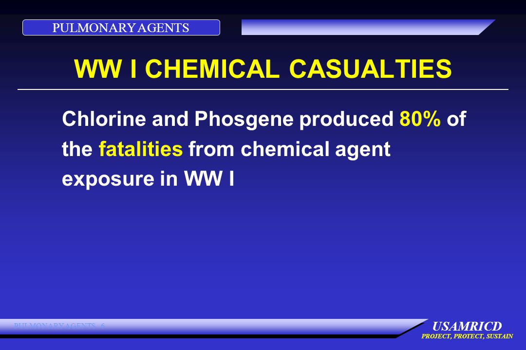 PULMONARY AGENTS USAMRICD PROJECT, PROTECT, SUSTAIN PULMONARY AGENTS 6 WW I CHEMICAL CASUALTIES Chlorine and Phosgene produced 80% of the fatalities from chemical agent exposure in WW I