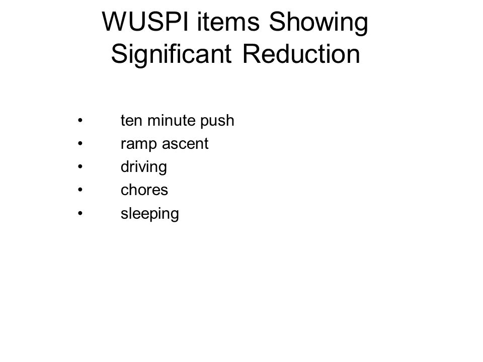 WUSPI items Showing Significant Reduction ten minute push ramp ascent driving chores sleeping