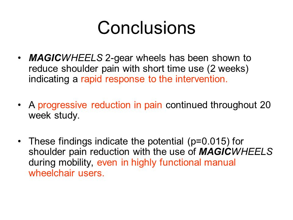 Conclusions MAGICWHEELS 2-gear wheels has been shown to reduce shoulder pain with short time use (2 weeks) indicating a rapid response to the intervention.