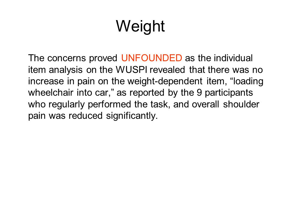 The concerns proved UNFOUNDED as the individual item analysis on the WUSPI revealed that there was no increase in pain on the weight-dependent item, loading wheelchair into car, as reported by the 9 participants who regularly performed the task, and overall shoulder pain was reduced significantly.