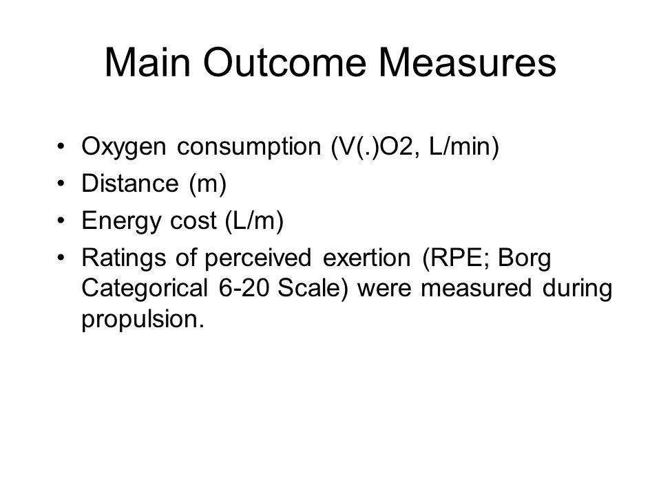 Main Outcome Measures Oxygen consumption (V(.)O2, L/min) Distance (m) Energy cost (L/m) Ratings of perceived exertion (RPE; Borg Categorical 6-20 Scale) were measured during propulsion.