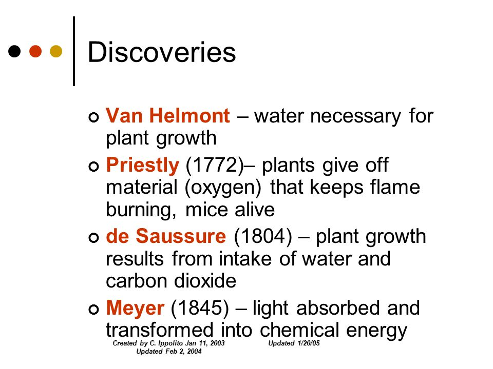 Updated 1/20/05Created by C. Ippolito Jan 11, 2003 Updated Feb 2, 2004 Discoveries Van Helmont – water necessary for plant growth Priestly (1772)– pla