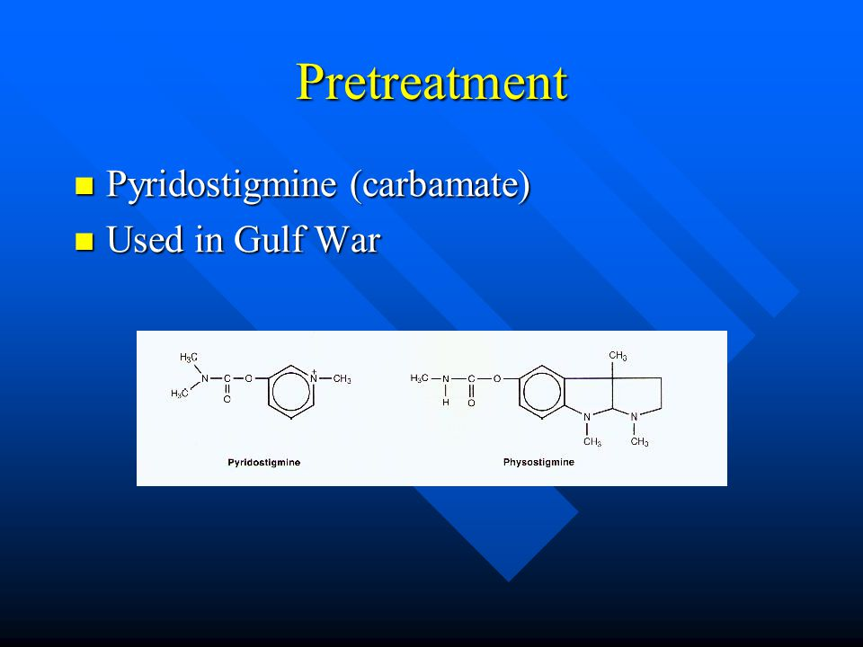 Pretreatment Pyridostigmine (carbamate) Pyridostigmine (carbamate) Used in Gulf War Used in Gulf War