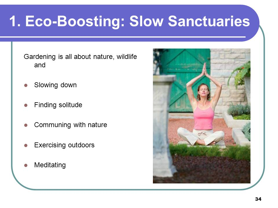 34 1. Eco-Boosting: Slow Sanctuaries Gardening is all about nature, wildlife and Slowing down Finding solitude Communing with nature Exercising outdoo
