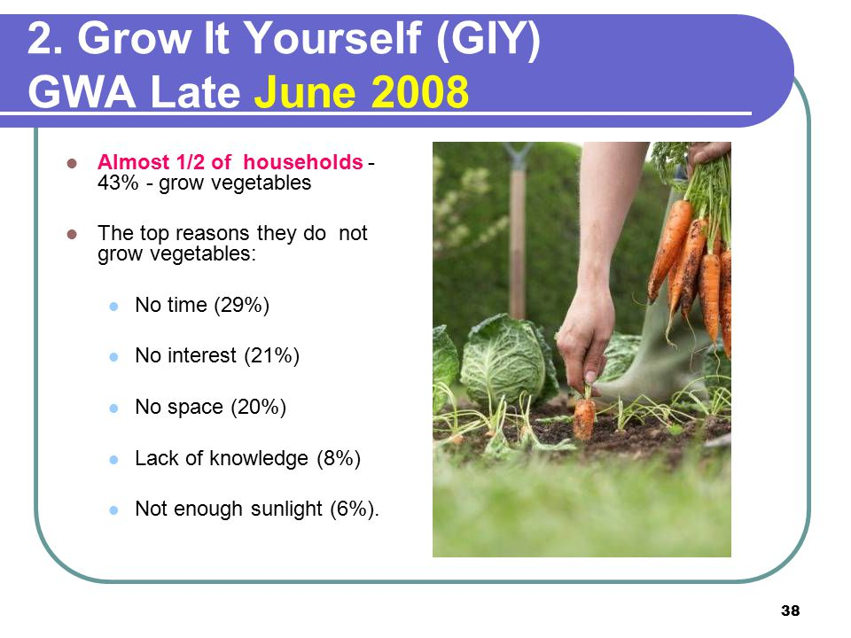 38 2. Grow It Yourself (GIY) GWA Late June 2008 Almost 1/2 of households - 43% - grow vegetables The top reasons they do not grow vegetables: No time