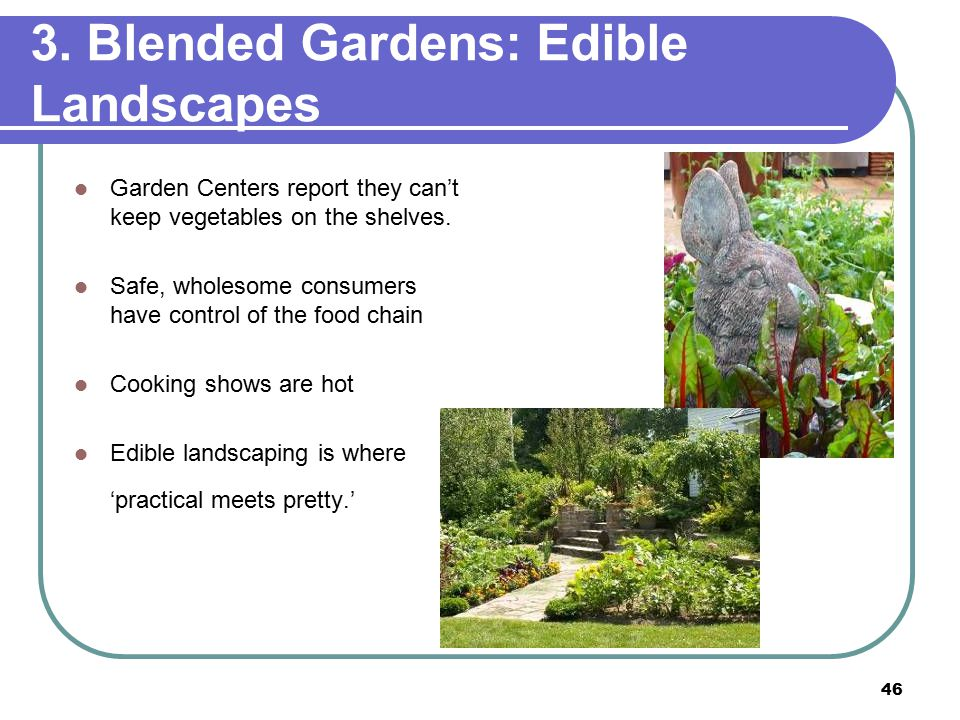 46 3. Blended Gardens: Edible Landscapes Garden Centers report they can't keep vegetables on the shelves. Safe, wholesome consumers have control of th