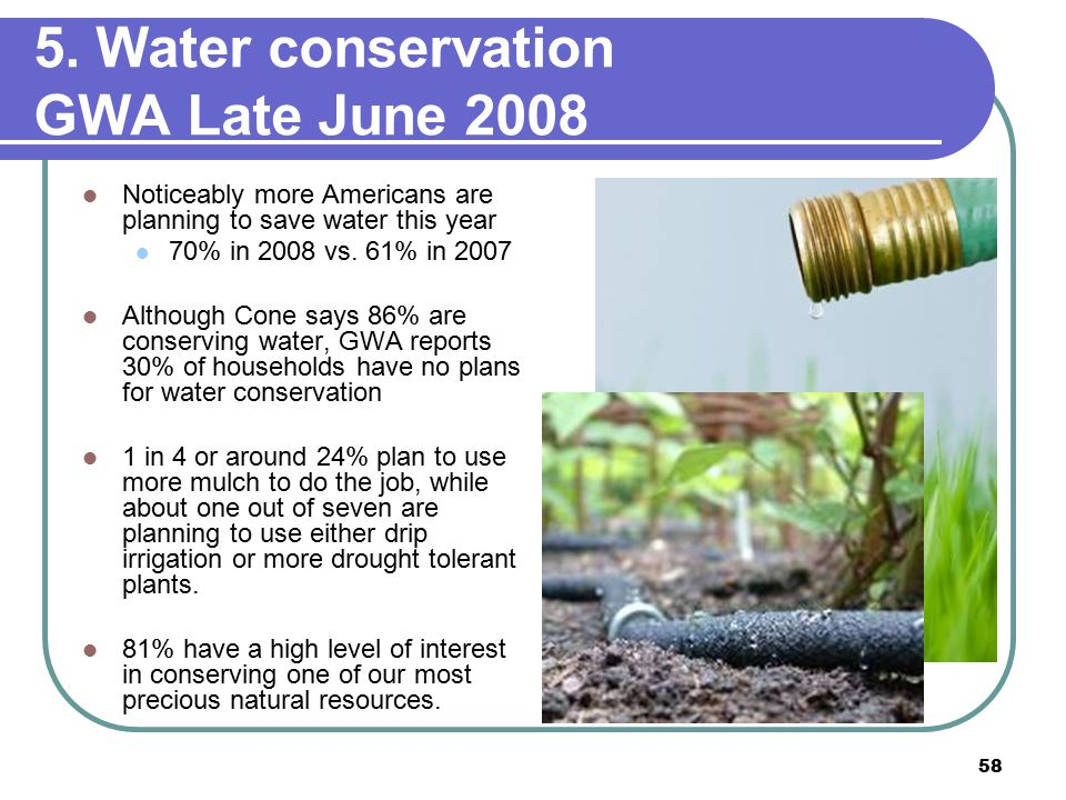 58 5. Water conservation GWA Late June 2008 Noticeably more Americans are planning to save water this year 70% in 2008 vs. 61% in 2007 Although Cone s