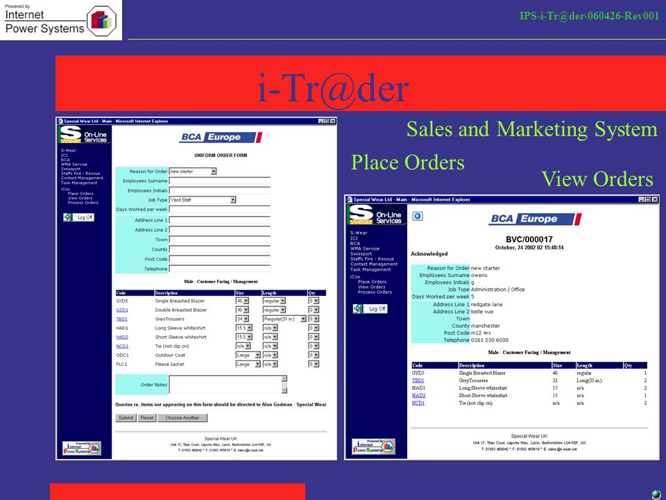 IPS-i-Tr@der-060426-Rev001 i-Tr@der Place Orders View Orders Sales and Marketing System