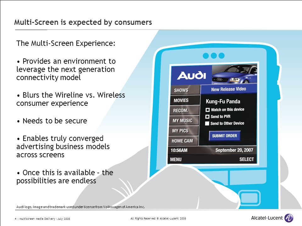 All Rights Reserved © Alcatel-Lucent 2008 4 | Multiscreen Media Delivery |July 2008 Multi-Screen is expected by consumers The Multi-Screen Experience: Provides an environment to leverage the next generation connectivity model Blurs the Wireline vs.