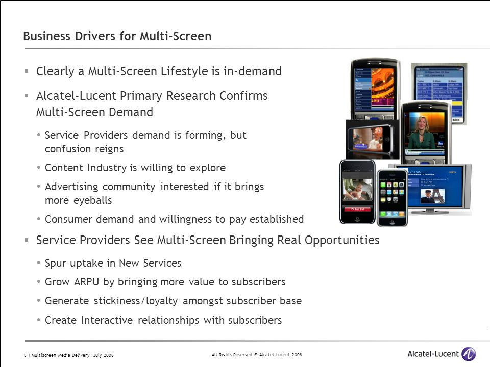 All Rights Reserved © Alcatel-Lucent 2008 5 | Multiscreen Media Delivery |July 2008 Business Drivers for Multi-Screen  Clearly a Multi-Screen Lifesty