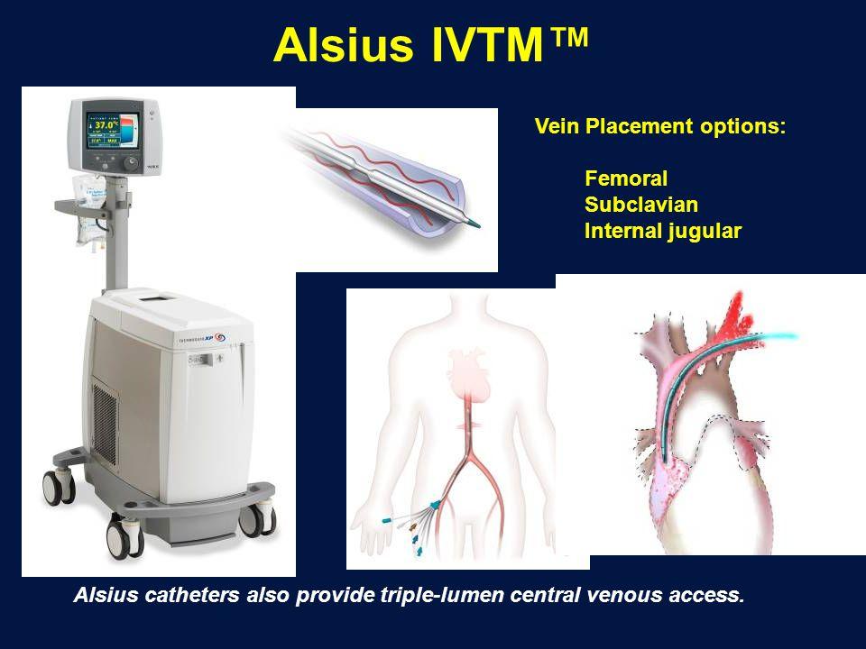 Alsius IVTM™ Vein Placement options: Femoral Subclavian Internal jugular Alsius catheters also provide triple-lumen central venous access.